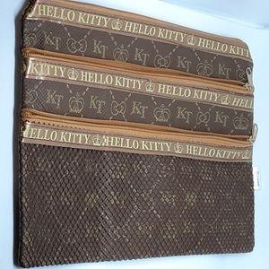 Hello Kitty Three Zipper Brown Cosmetic Bag